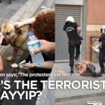 Image of People Flushing Dog's Eyes and Police Beating Civilian