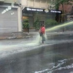 Woman Hit with Water Cannon in Turkey